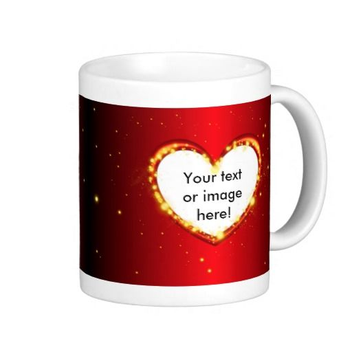 Valentines Day Heart Glowing Embers Sparkles Frame Mug - This mug features a black and red fading background with embers or sparkles on and all around a red glowing heart frame. Place a picture of your girlfriend, boyfriend, husband or wife inside the heart and add your special message inside the other heart for that special and personal gift on Valentines Day.