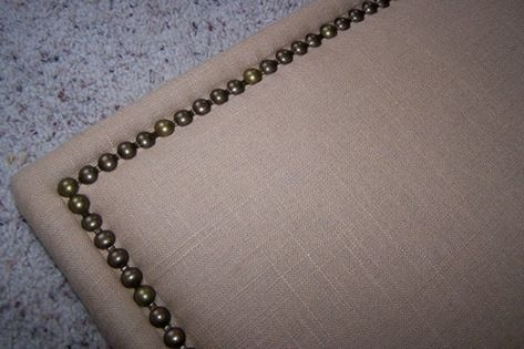 fabric-covered headboard | Cheap diy headboard, Nailhead ...