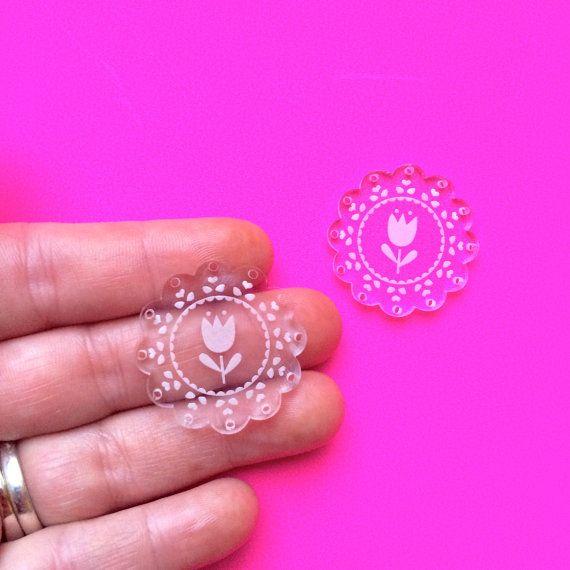 Peekaboo Doily Dangles Laser Cut Acrylic by CraftyCutsLaser