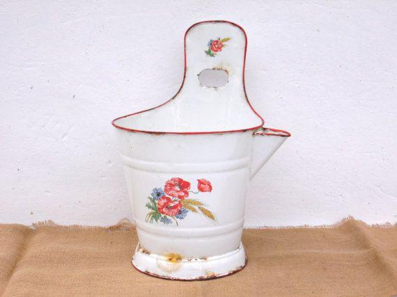 Antique Enamel Milking Bowl Enameled Bucket Garden Planter