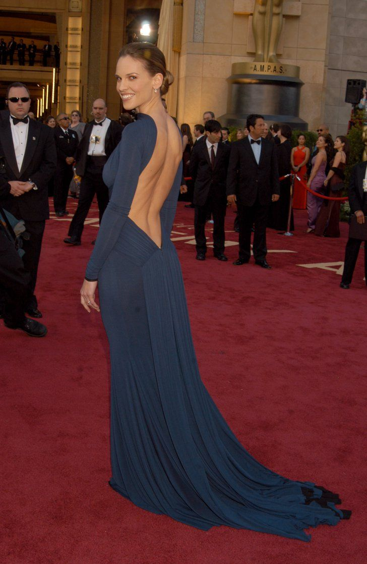Pin for Later: 85 Unforgettable Looks From the Oscars Red Carpet Hilary Swank at the 2005 Academy Awards Talk about sexy back; Hilary Swank brought major sizzle in Guy Laroche in 2005.