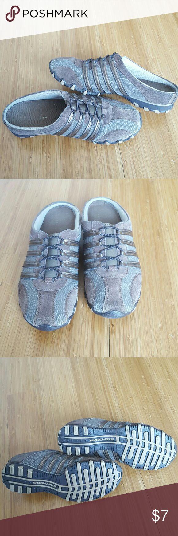 Skechers slip on shoes Slim profile mules sneakers in brown. Skechers Shoes