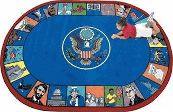 The Symbols of America Classroom Rug is a patriotic educational carpet that pays tribute to great moments & people in American History! This civics educational carpet is a great way to get the history