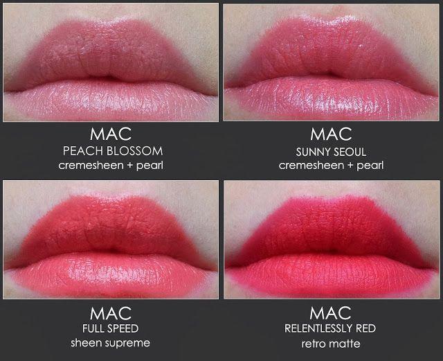 Mac Peach Blossom, Sunny Seoul, Full Speed, Relentlessly Red // Mateja's Beauty Blog