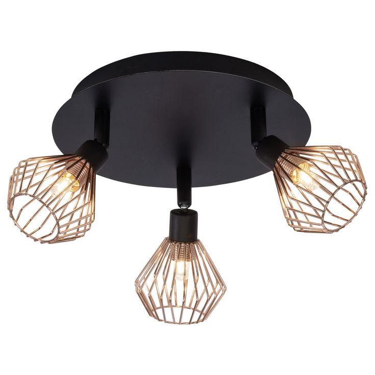 Bestel de Landelijke Plafondlamp Jahleya - Zwart, Koper op Lampgigant.nl ✓ Snel gratis bezorgd ✓ Grootste collectie in NL & BE!