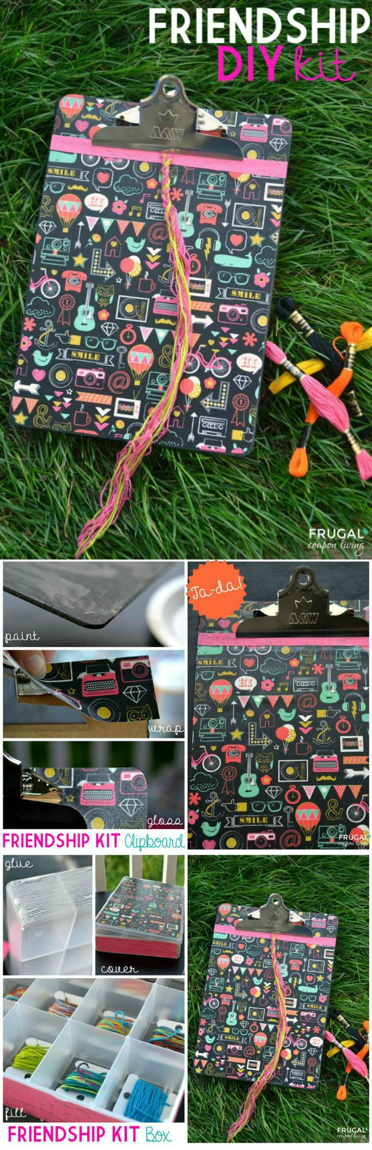 DIY Friendship Bracelet Kit Tutorial - homemade kit with clipboard and storage box directions on Frugal Coupon Living.