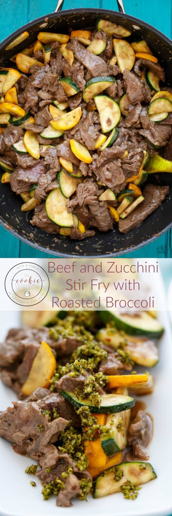 Beef and Zucchini Stir Fry with Roasted Broccoli | http://thecookiewriter.com | @thecookiewriter | #stirfry | This beef and zucchini stir fry is the perfect way to use up garden veggies and the roasted broccoli garnish is totally optional!