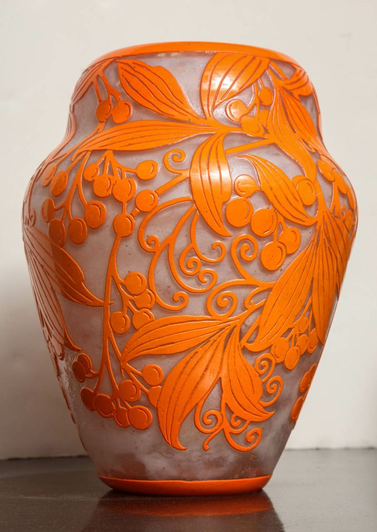 A very rare and important Daum Art Deco Vase from c. 1925, with beautiful bright orange enamel decoration of branches and berries