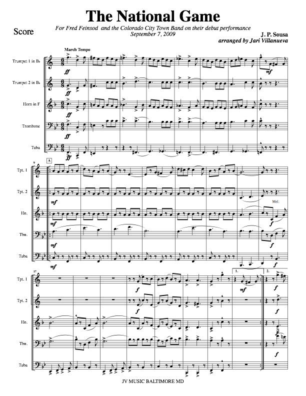 The National Game By John Philip Sousa John Philip Sousa Brass Quintet National Games