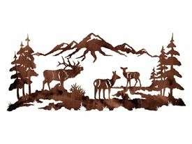 """57"""" Elk Family in the Pine Forest Metal Wall Art"""