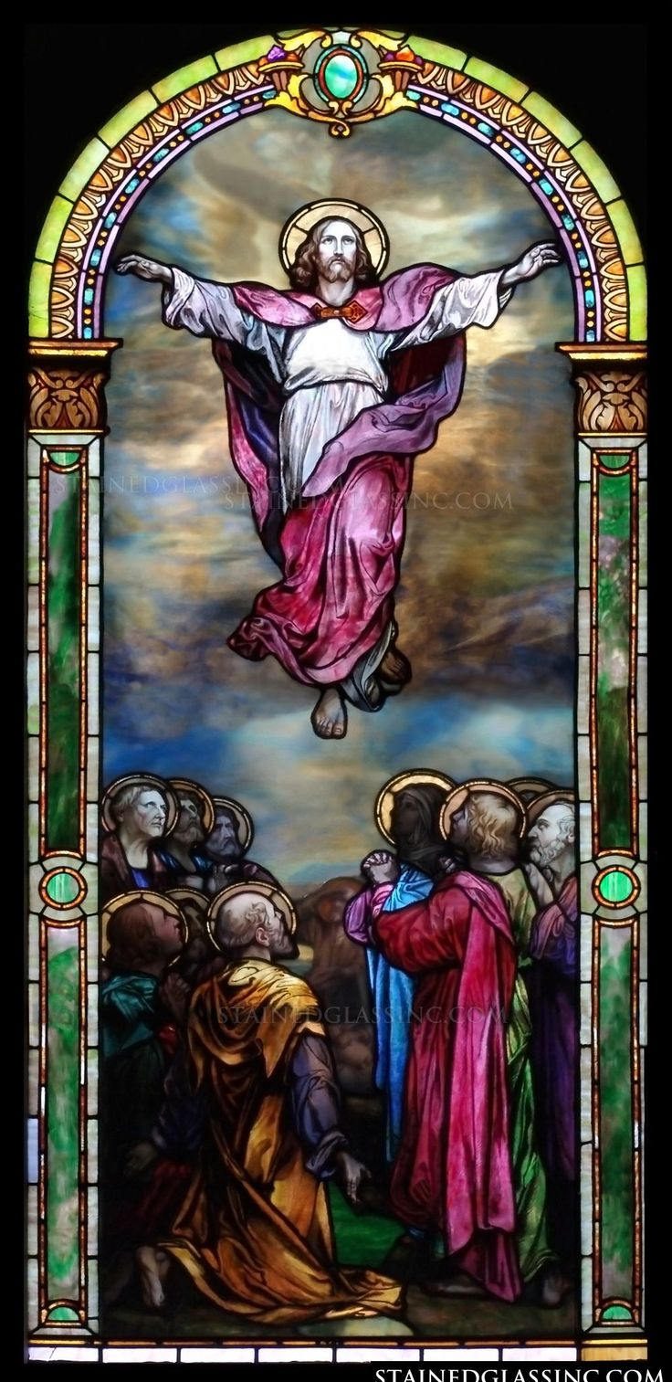 quotascension colorfulquot religious stained glass window