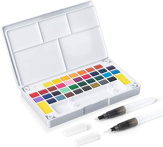 Amazon Com Sakeyr 36 Assorted Vivid Watercolor Paint Travel Set