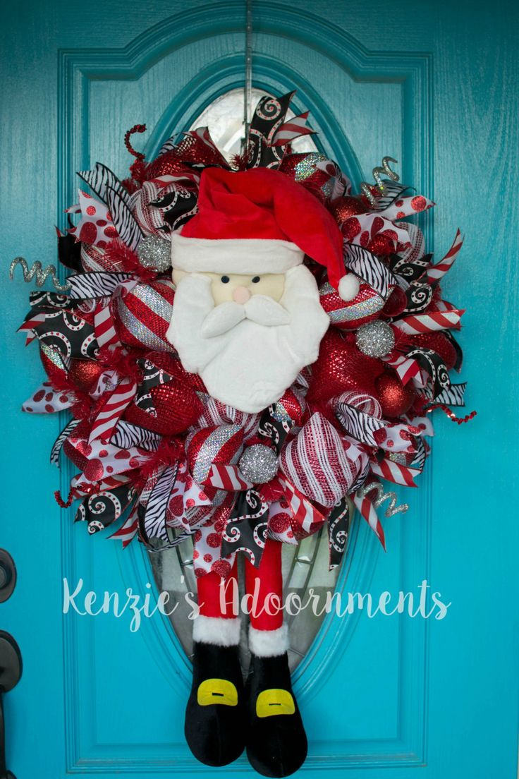 Deco Mesh Christmas Wreath Santa Claus Wreath Modern Christmas Wreath Santa…