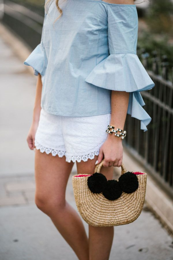 Off the shoulder top with peplum sleeves and white Pom Pom shorts