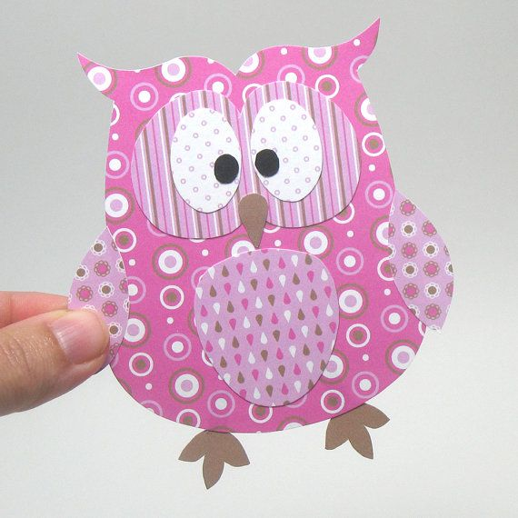 Paper Owl Printable - Pink Layered Papercraft Embellishment for Card Making Gift Tag Party Decoration via Etsy