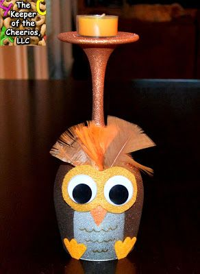 http://www.thekeeperofthecheerios.com/2015/10/owl-wine-glass-candle-holder.html