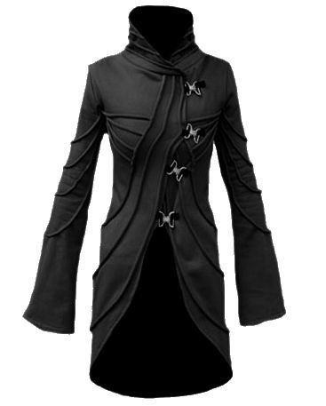 Vodabox - Black Fleece Coat with Metal Clip Fasteners [07V271fl] - £83.99 : Gothic Clothing, Gothic Boots & Gothic Jewellery. New Rock Boots, goth clothing & goth jewellery. Goth boots and alternative clothing