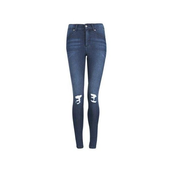 Cheap Monday Blue On Blue Ripped Knee Skinny Jeans (44 AUD) ❤ liked on Polyvore featuring jeans, pants, bottoms, blue, pants and shorts, destroyed skinny jeans, destroyed jeans, stretch jeans, torn jeans and destructed skinny jeans
