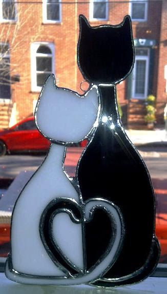 Cozy Cats - Stained Glass Sun Catcher (G-4) via Etsy