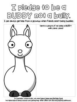 Llama Llama and the Bully Goat Worksheet by Hashtag School Counseling Stuffs