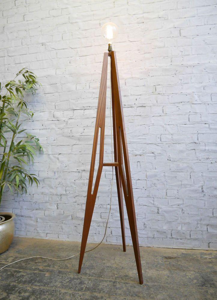 Vintage Retro 60s Mid Century Modernist Danish Era Tall Teak Floor Tripod Lamp  | eBay