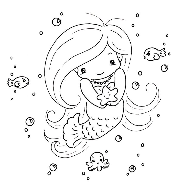 Sliekje digi Stamps  Mermaid Hand Embroidery or coloring page