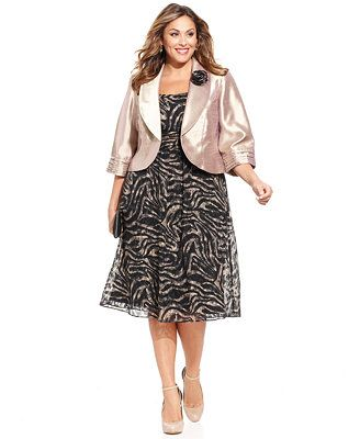 Le Bos Plus Size Printed Dress And Jacket