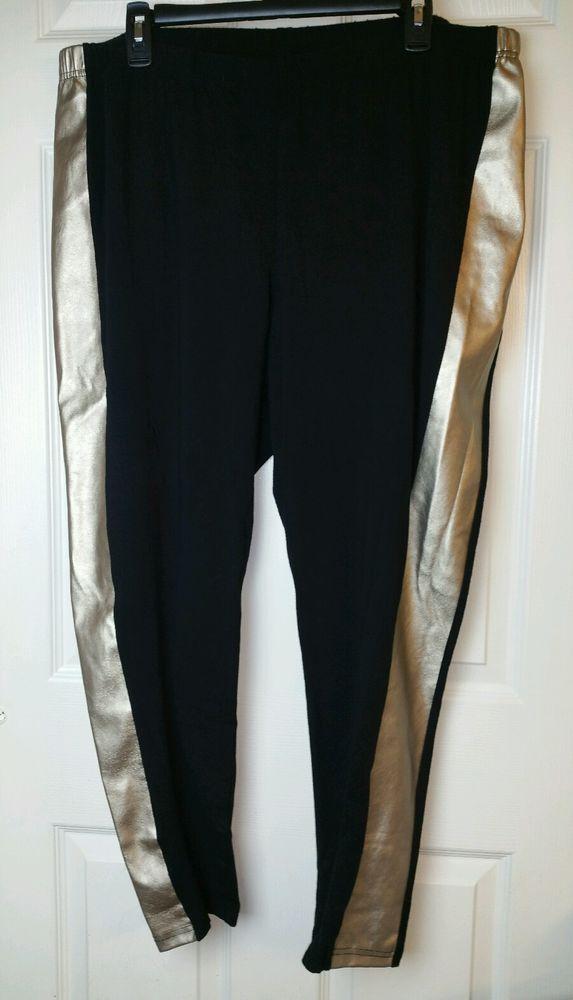 TORRID Black Gold Leggings Pants Plus Sz 4 Stretch Cotton Faux Leather 4X #Torrid #Leggings #plussize