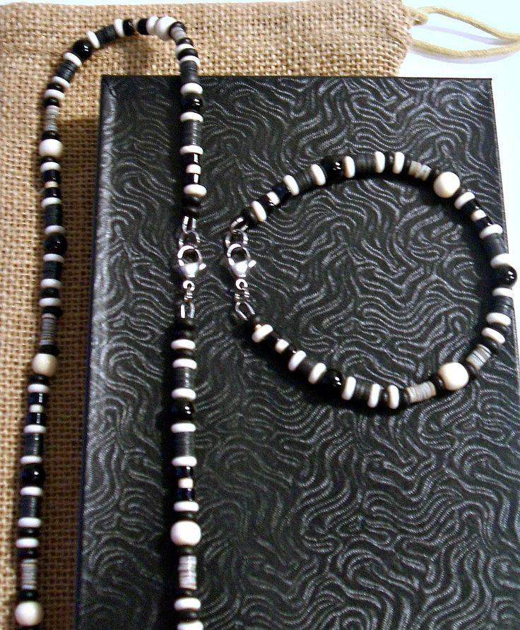 Men's Black and White Onyx Gemstone Beaded Necklace Bracelet Set