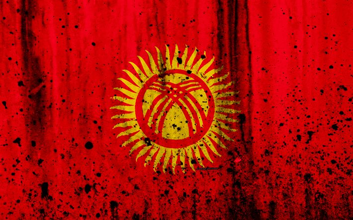 Download wallpapers Kirghiz flag, 4k, grunge, Asia, flag of Kyrgyzstan, national symbols, Kirgizia, coat of arms of Kyrgyzstan, national flag, Kyrgyz national emblem