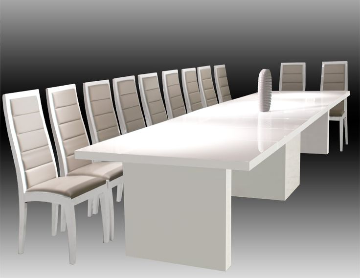 Largo White Lacquer Dining Conference Table Modern