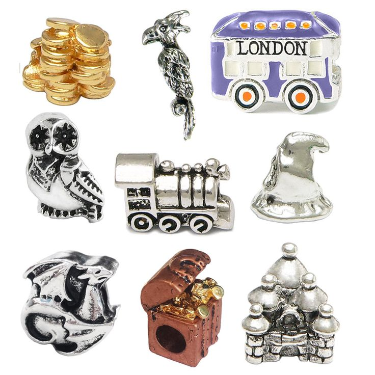 Harry Potter Inspired Charm Set - Pandora Style/Compatible - Purple London Bus, Dragon, Owl, Castle, Train, Fawkes, Sorting Hat & Gold Plated Coins & Treasure Chest Charm. This limited edition of char