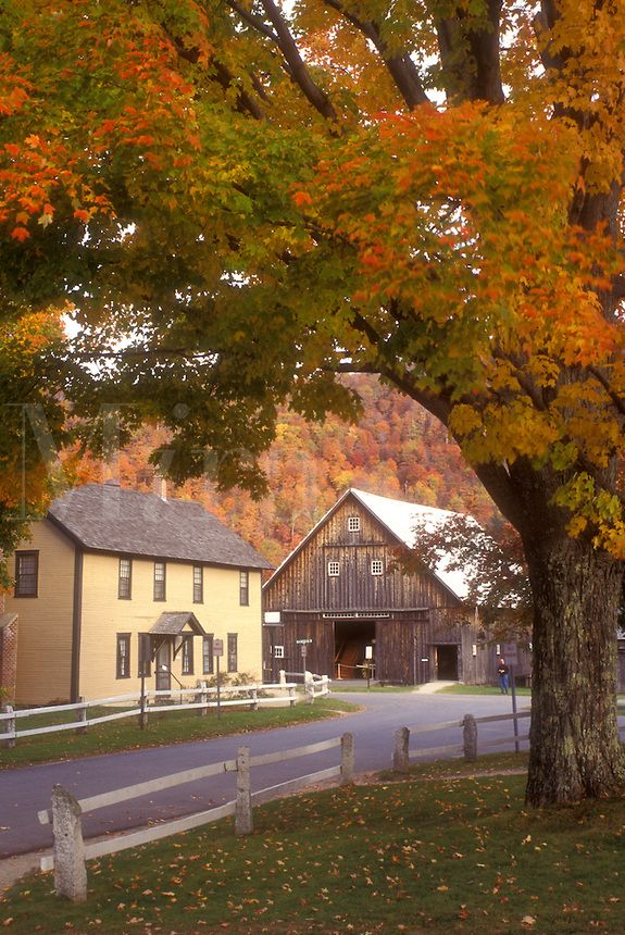fall, historic site, Plymouth Notch, VT, Vermont, The Wilder House and Barn at the Calvin Coolidge State Historic Site in Plymouth Notch in autumn, boyhood home of the 30th president of the United States..