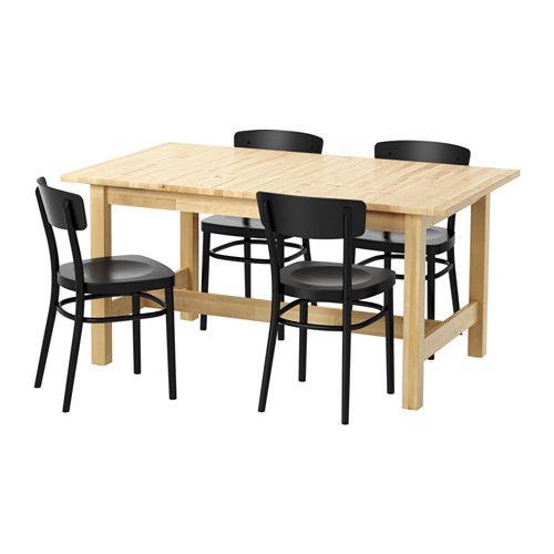 NORDEN / IDOLF 테이블+의자4 IKEA 잠금기능이 있어서 테이블과 보조상판 사이에 빈틈이 생기지 않고 안정적입니다. 4-6인용 식탁으로 보조상판을 이용해서 원하는 크기로 조절할 수 있습니다. 천연 원목 소재로 내구성이 뛰어납니다.