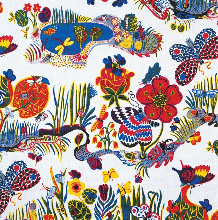 Josef Frank, Butterfly, 1943-45 ©Svenskt Tenn. A colourful illustration of butterflied and flowers.