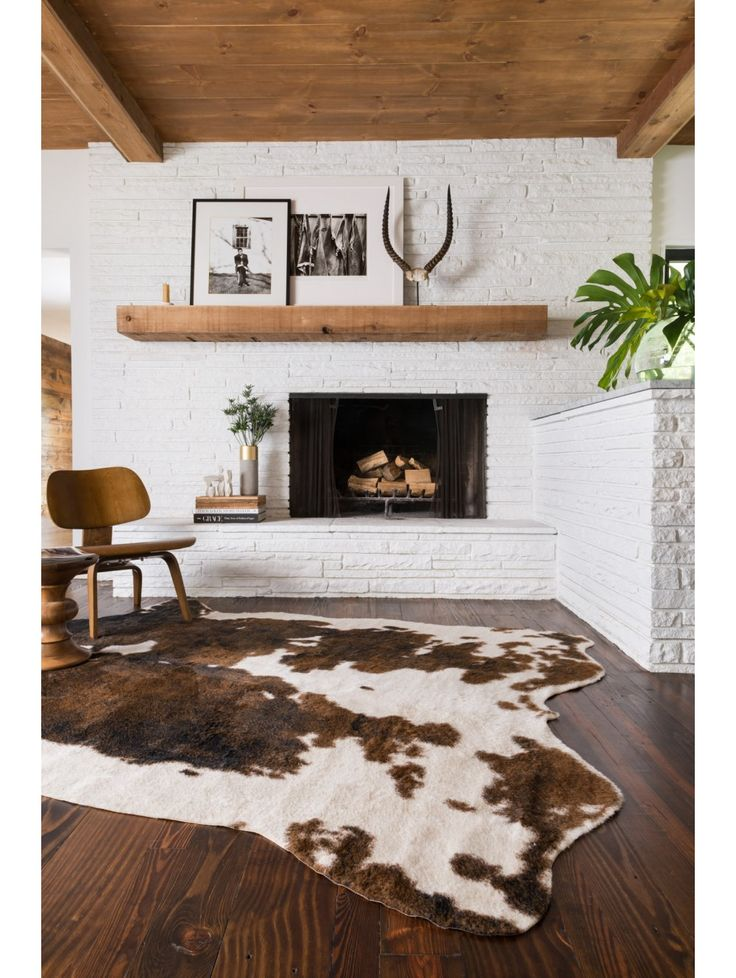 brown dash faux cowhide rug - Fireplace Rugs