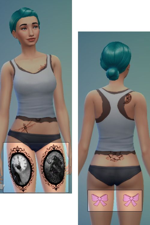 TESTED - WORKS Father Time, Mother Nature and Pink Bow Tattoo Set at Sims-Sala-Bim via Sims 4 Updates