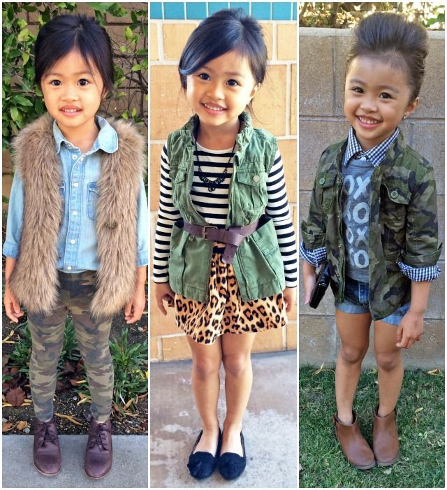 I'm dying! She's so darn CUTE! Sydne Style A Z trend guide how to wearfall winter 2013 trends kids fashion fur vest leopard stripes armyoutfits camo little girls fashion...