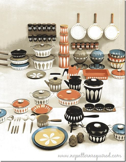 Full line-up of Lotus Enamelware by Cathrineholm - 1969
