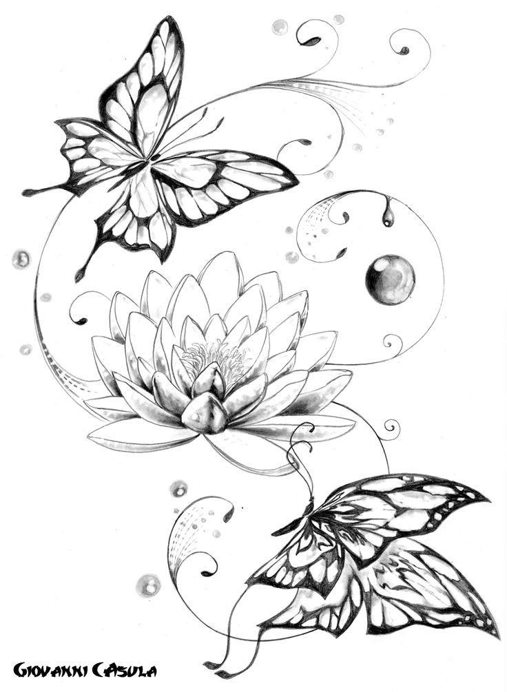 Butterflies Buddha Lotus Tattoo Design photo - 1