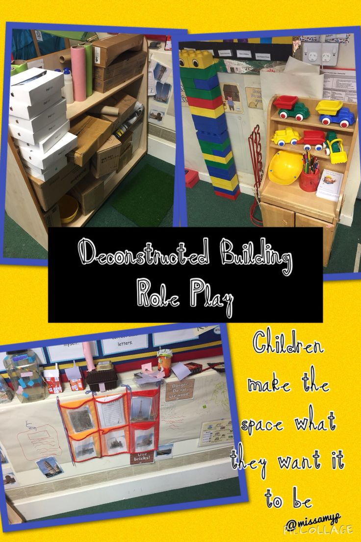 Deconstructed Role Play with a Building theme. Children build what they want using the pictures for inspiration. They are encouraged to record plans and buildings on the papered walls (missamyp)