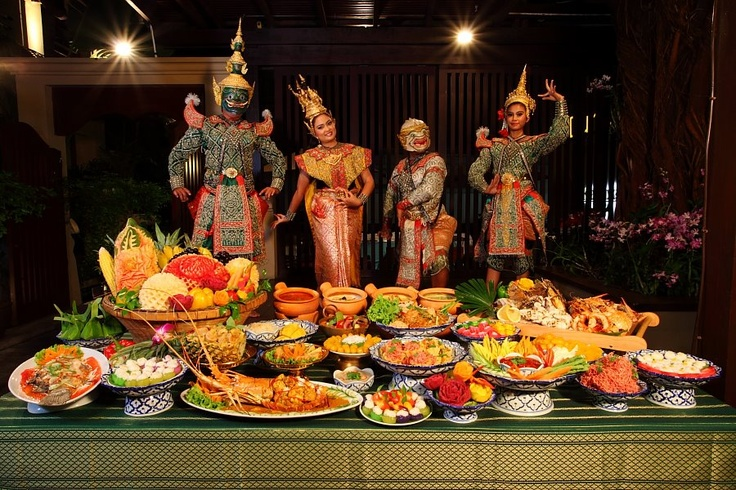 Lovely setting, the display of the Thai food with the Thai Dancers.              By Janice Amacio's at Burasari Resort, Phuket, Thailand.