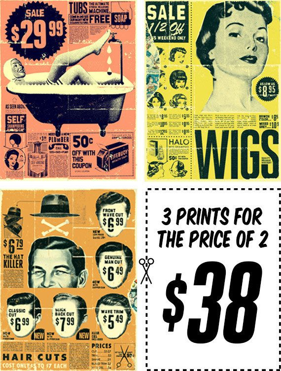 ON SALE Retro Ad Prints Series by curtmerlo on Etsy