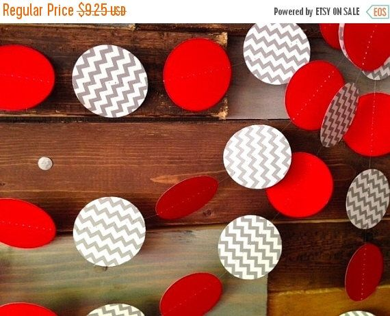 Holiday Sale Red and Gray Chevron Garland Birthday Party Decor, Ohio State Colors, Buckeye Football Party, Baby Shower Decor, Nursery, Etc! by PartyMadePretty on Etsy https://www.etsy.com/listing/191087746/holiday-sale-red-and-gray-chevron