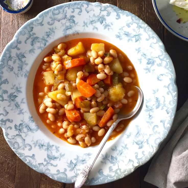 This traditional greek bean soup is the national dish of Greece and is a staple in my house during the fall and winter months.