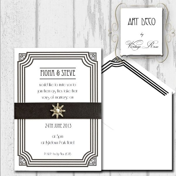 Wedding invitations art deco