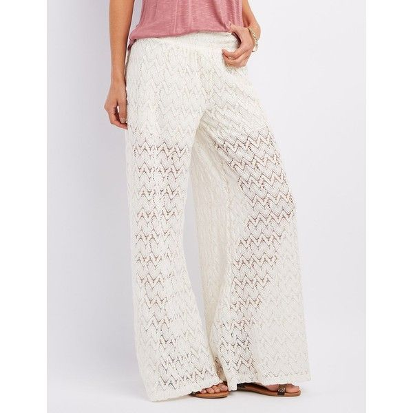 Charlotte Russe Sheer Crochet Palazzo Pants ($27) ❤ liked on Polyvore featuring pants, ivory, wide-leg pants, white beach pants, wide leg palazzo pants, white palazzo pants and flare pants