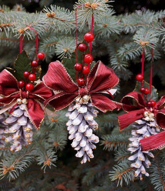Adornos para el rbol de navidad con pi as de pino - Arboles de navidad decorados 2017 ...