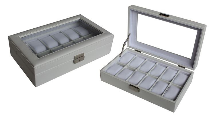 Luxury white leather watch box display Watches storage case organiser 12 watches  $79.95  Size: 325*190*80 mm Elegant design with white faux leather finished Pillow size 45x70mm Store up to 12 watches Crystal Clear acrylic top brilliant Soft white velvet