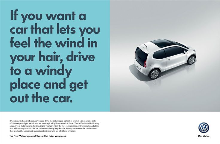 Read more: https://www.luerzersarchive.com/en/magazine/print-detail/vw-volkswagen-up-58455.html VW Volkswagen UP If you need a change of scenery you can drive the Volkswagen up! out of town. It will consume only 4.5 litres of petrol per 100 kilometres, making it a highly economical drive. This is if the wind is blowing against you. But if the wind is blowing in your direction the fuel consumption will be significantly less … Tags: Ogilvy & Mather, Cape Town,Taryn Scher,Ross Nieuwenhuizen,VW…
